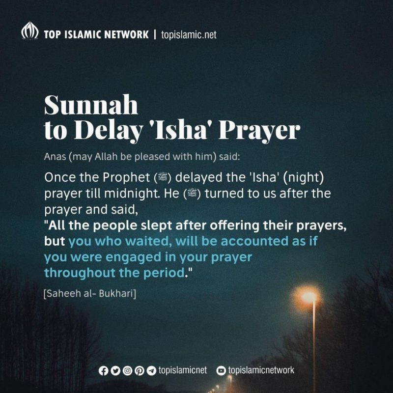 delay isha prayer